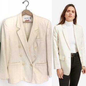 Vintage Cream Wool Bland Double Breasted Blazer!